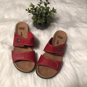 Clarks Soft Cushion Slip On Red Sandals